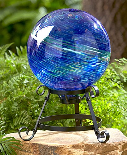 Colorful Glass Ball on Stand (Blue & Green)