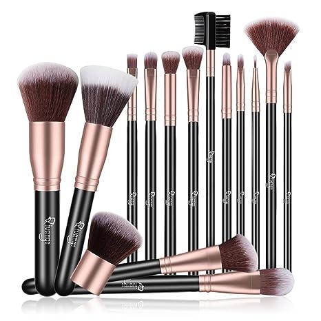 473df03e6 Qivange Pinceles de maquillaje, 15 Piezas Base plana Kabuki Powder  Corrector Cepillo de ventilador Delineador