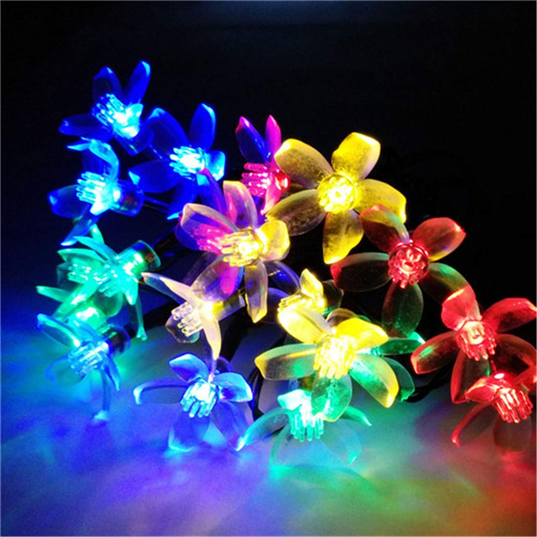BGFHDSD Christmas Solar Powered 4.8M Outdoor Cherry Blossoms Garden Engagement Party Decoration String Lights New Year Holiday Lighting RGB