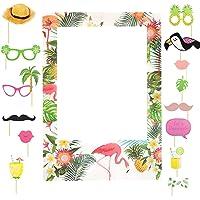 Yuccer 16 Piezas Hawaii Fiesta Photo Booth Props Verano Hawaii Decoracion Flamingoss Photo Booth Frame para Tropical…