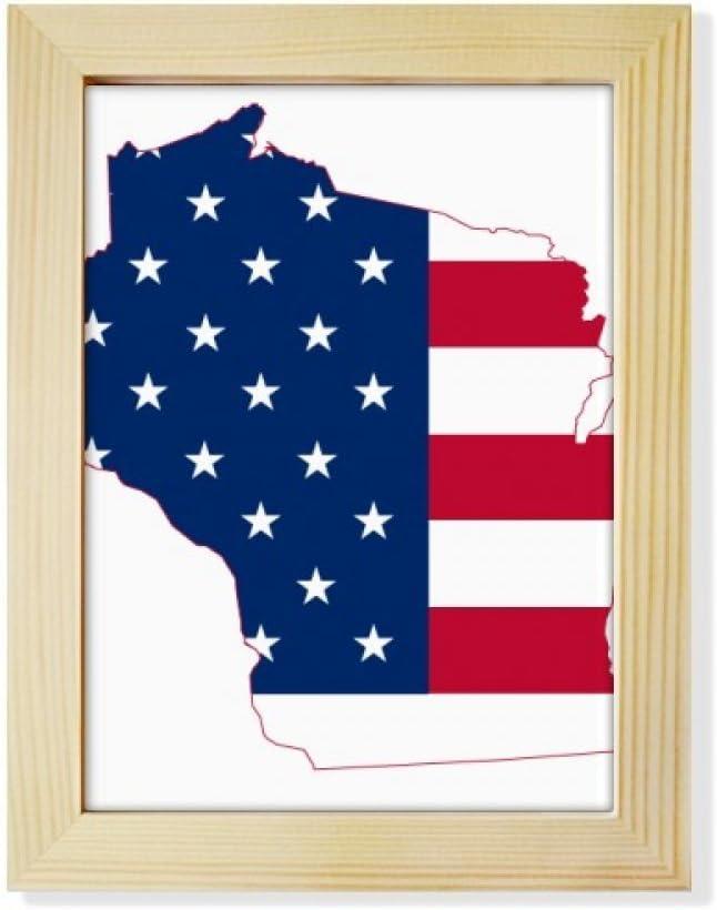 DIYthinker Wisconsin America Map Stars Stripes Flag Shape Desktop Adorn Photo Frame Display Art Painting Wooden