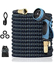 """HARNESTLE Garden Hose 50ft with 10 Function Nozzle, Lightweight Expandable Water Hose with 3/4"""" Solid Brass Fittings, Easy Storage No Kink, Extra Strength Fabric Flexible Garden Pipe for Watering"""