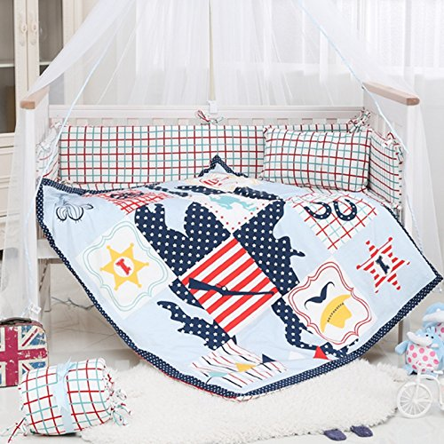 Baby Bale Bedding Set Floral Print Cot Quilt and Bumper Cotton Bed Ultra Soft Hypoallergenic Girl Four Sets of Childrens Trampoline Skirt Crib Sheet Thin Blanket Skin Friendly Gift Kit for Newborn