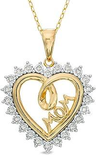 'Silv ernshine Jewels 1CT Bianco SIM Diamond Shadow Cuore conMom ciondolo collana con catena 18
