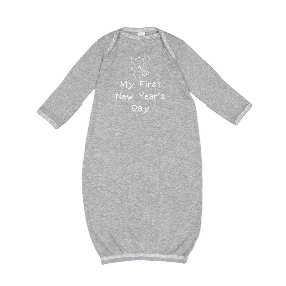 Baby Cotton Sleeper Gown Party Hat /& Balloons Mashed Clothing My First New Years Day