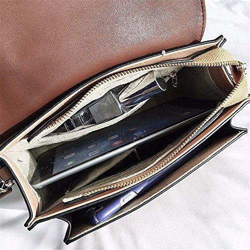 à pour Asdflina Carré Convient Couleur Messenger Sac Grande Rétro bandoulière PU Quotidien Un Kaki Bouton Simple Magnétique capacité Hit Usage Bag PCqTPf