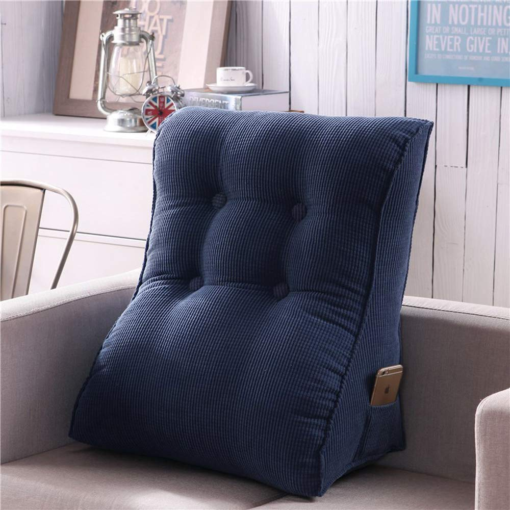 Modenny Triangular Waist Back Big Large Cushion Pillow Comfortable Backrest Cushion for Sofa Bed Thick Lumbar Backrest Pillow for Chair (Color : Gray, Size : 55x60cm)