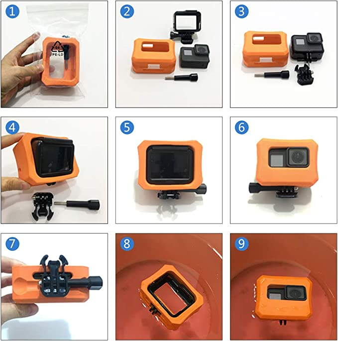 YUIO/® Orange Float Box Water Floaty Protective Case Cover Box Protector for Gopro Hero 4 Session Camera Orange