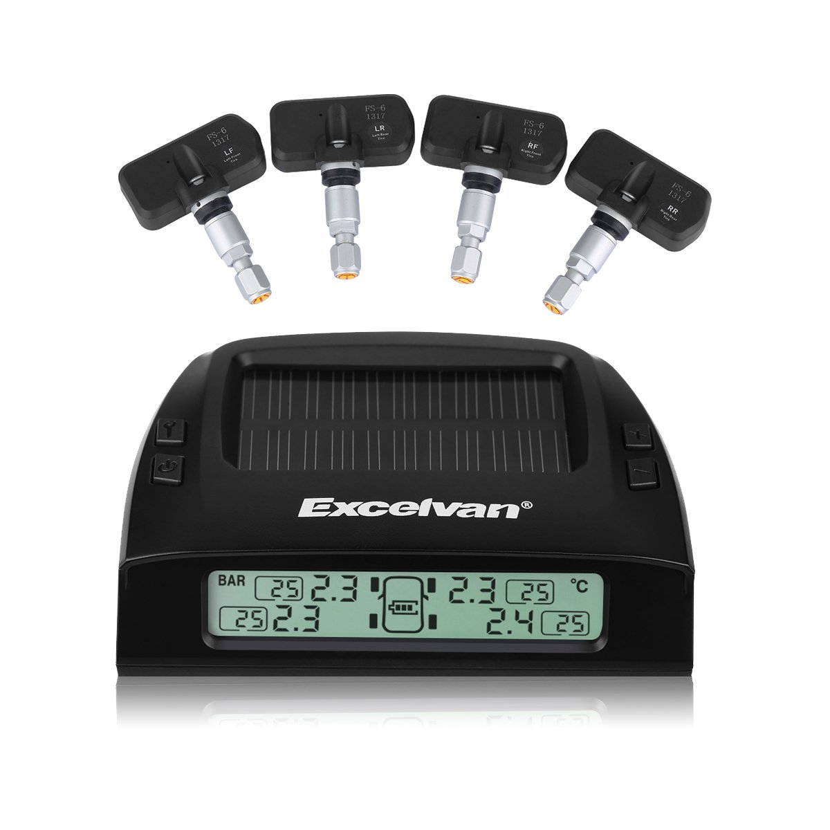 Excelvan Wireless Solar Rechargeble Digital LED Tire Pressure Monitoring System TPMS with 4 External Sensors Pressure Range 0~8 Bar (0~116Psi)
