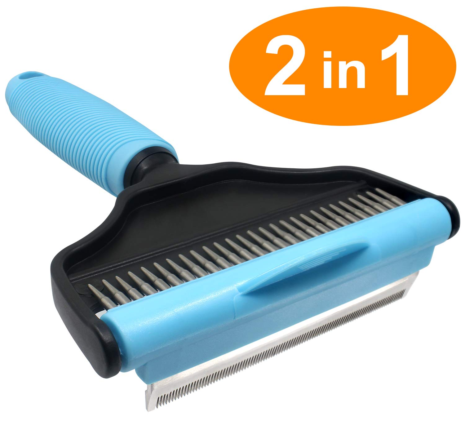 Dog Shedding Brush, Cat Grooming Deshedding Dematting Tool 2 in 1(Brush Rake) Professional Remove Pet Fur Undercoat Comb, Effectively Reduces Shedding By Up To 95% for Long Short Hair Large Small Dogs