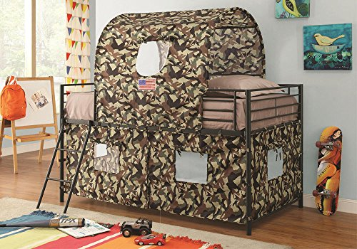 1PerfectChoice Youth Boys Kids Twin Loft Bed w/ Army Hunting Style Tent & Ladder Black (Tent For Youth Bed)