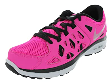 Girls Nike Dual Fusion Run Running Shoe Pink Foil/Black/White/Metallic  Silver