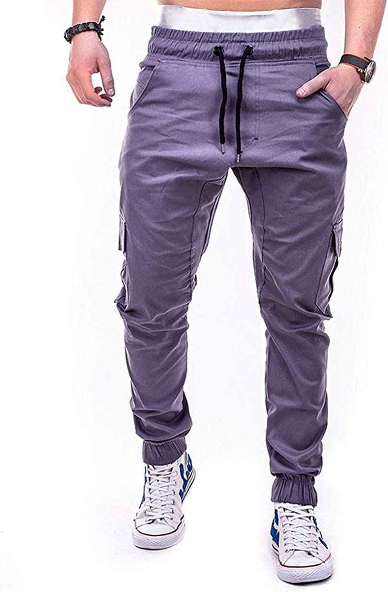Mens Pants Casual Relaxed Fit Hiking Work Pants Expandable Waist