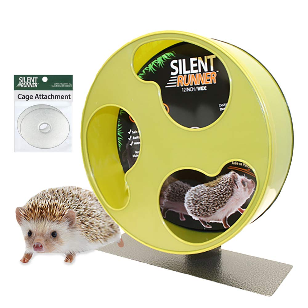 Exotic Nutrition Silent Runner 12'' Wide + Cage Attachment - Silent, Fast, Durable Exercise Wheel - Sugar Gliders, Degus, Rats, Hedgehogs, Prairie Dogs & Small Pets by Exotic Nutrition