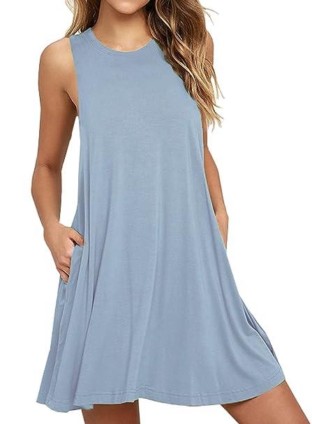cb64212866c2 Viishow Women Summer Beach Cotton Casual Sleeveless Flared Tank Dress (XS,  Sleeveless Light Blue