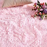 PAGISOFE Pink Fluffy Shag Area Rugs for Bedroom