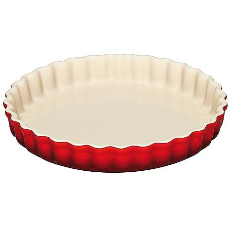 LE CREUSET PG0600-2467 Molde para Tartas, Ø 24 cm, Cerámica de gres, Rojo(Cereza)