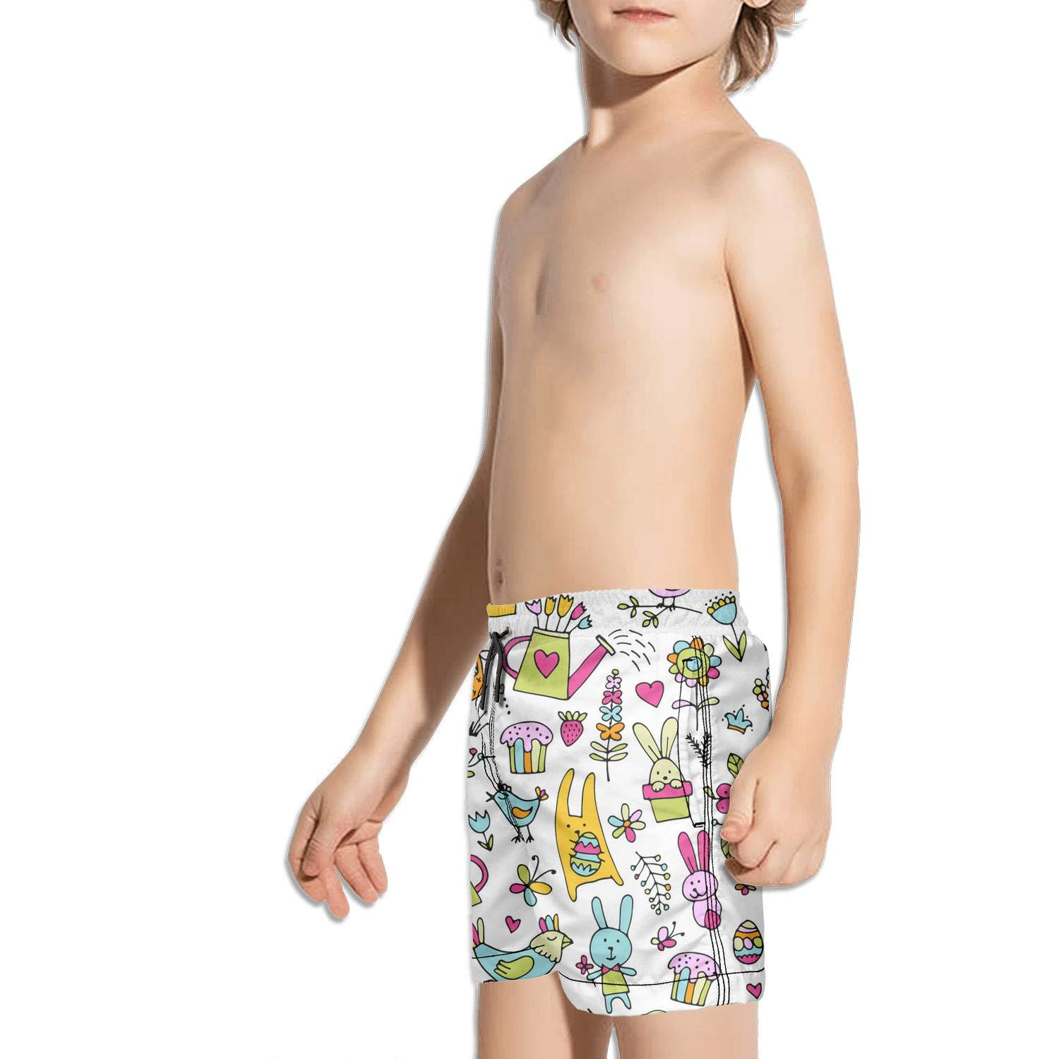 dhaldsa Pink Easter Eggs Rabbit Boys Swimming Trunks Shorts Solid Board Shorts
