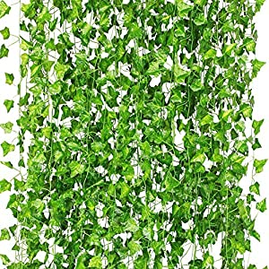 CQURE Ivy Garland,Fake Ivy Vine Foliage Silk Garland Hanging Greenery for Wedding Party Garden Wall Decoration 12 Pack 84FT 41