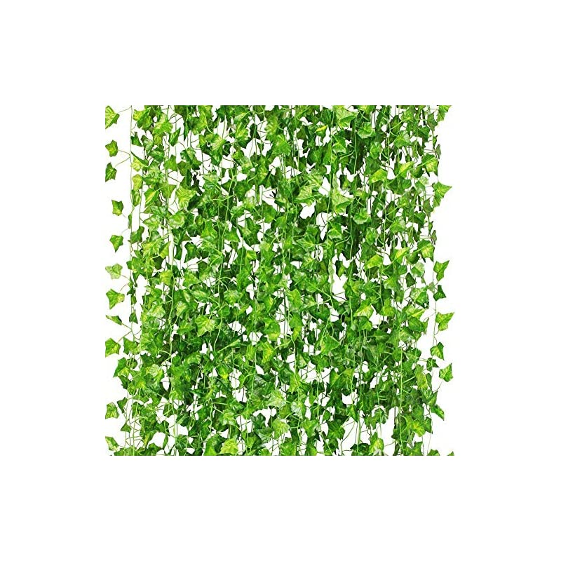 silk flower arrangements cqure 12 pack 84ft artificial ivy garland,fake ivy garland vines green leaves hanging vine fake plants with 200 led 65 ft outdoor string lights for wedding party garden wall decoration