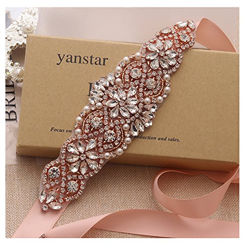 Wedding Apparel Gown (Yanstar Blush Sash Crystal Applique Wedding Bridal Belts In Rose Gold With Pearls Beaded On Wedding Prom Dress-7.7In2In)