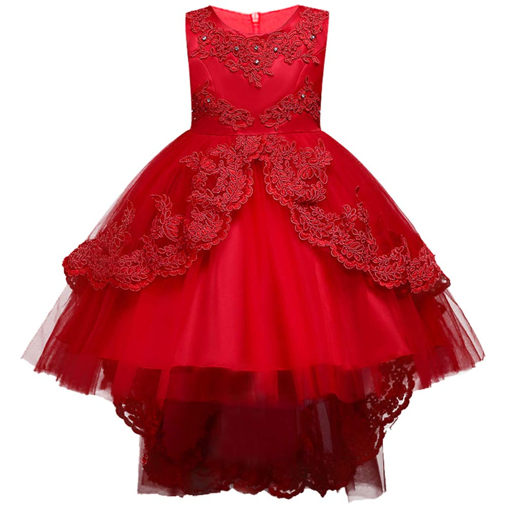 amatorial Girls Lace Flower Princess Bowknot Party Formal Dress Long Trailing Skirts Dance Ball Gown