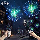 Fanshunlite Hanging Starburst Fairy Twinkle String Lights,8 Modes Dimmable Waterproof 120 LED Bouquet Shape Fireworks Decorative Lights,Battery Operated Remote Control Patio Parties,2 Pack