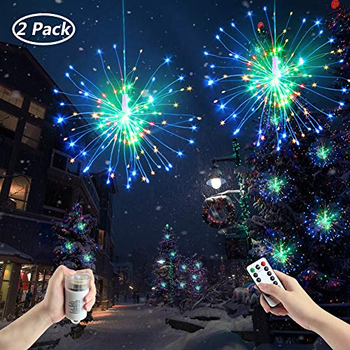 Fanshunlite Hanging Starburst Fairy Twinkle String Lights,8 Modes Dimmable Waterproof 120 LED Bouquet Shape Fireworks Decorative Lights,Battery Operated Remote Control Patio Parties,2 Pack by Fanshunlite