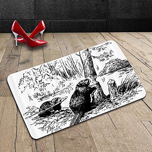Custom Machine-washable Door Mat Wildlife Decor Eurasian Beaver Furry Aquatic Mammal by Creek in Forest Hand Drawn Image Black White Indoor/Outdoor Doormat