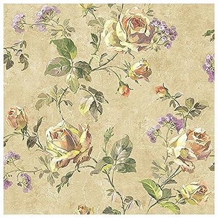 Carta Da Parati Texture Colorata.Wallquest Carta Da Parati Vintage Con Fiori E Rose Shabby