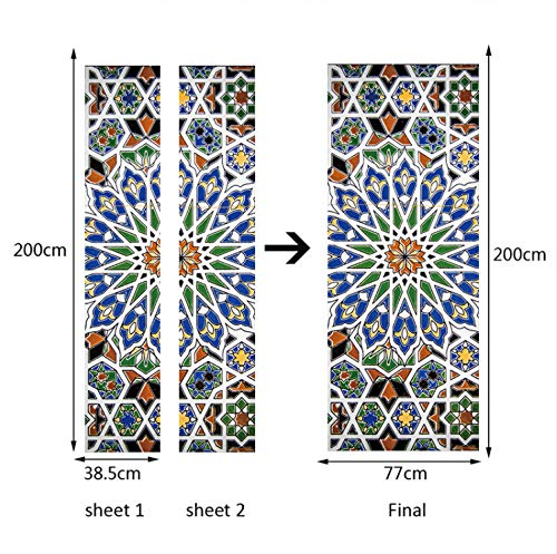 QiZhan541 Colorful Mosaic Classic Tiles Pattern Pottery Wall Door Sticker Mural Poster Imitation 3D Decal Mural Poster Scene 77×200cm (Art Scene Mural Tile Mosaic)