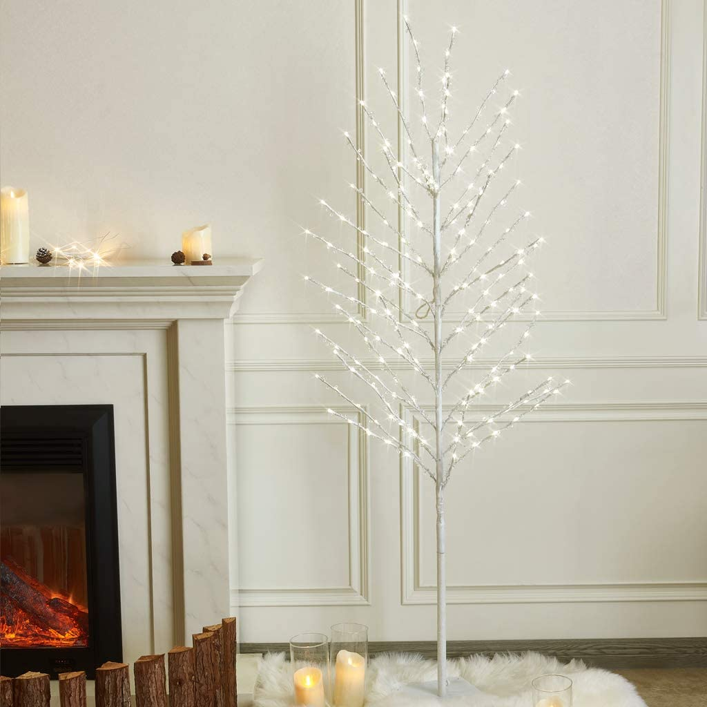 EAMBRITE 6FT White Tree with 200 Beads Crystal Fortune Money Tree for Good Luck Decor Home Office Spiritual Gift