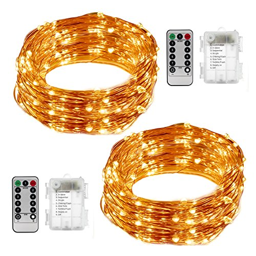 LightsEtc 2 Pack 100 LED String Lights Copper Wire 33ft Warm White Light 8 Modes Remote Control (Diy Glow Jars)