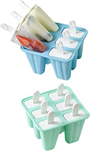 Helistar Popsicle Molds with Sticks 12 Pieces Silicone Ice Pop Molds BPA Free Popsicle Mold Reusable Easy Release Ice Pop Maker, Blue Green