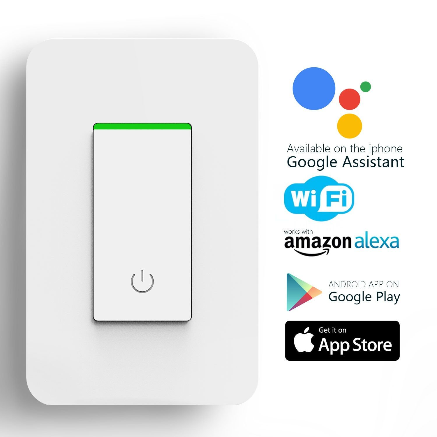 Smart Light Switch, WIFI Alexa Smart Switch Work with Amazon Alexa & Google Home, Timing Function, Overload Protection, No Hub Required (1-Pack)