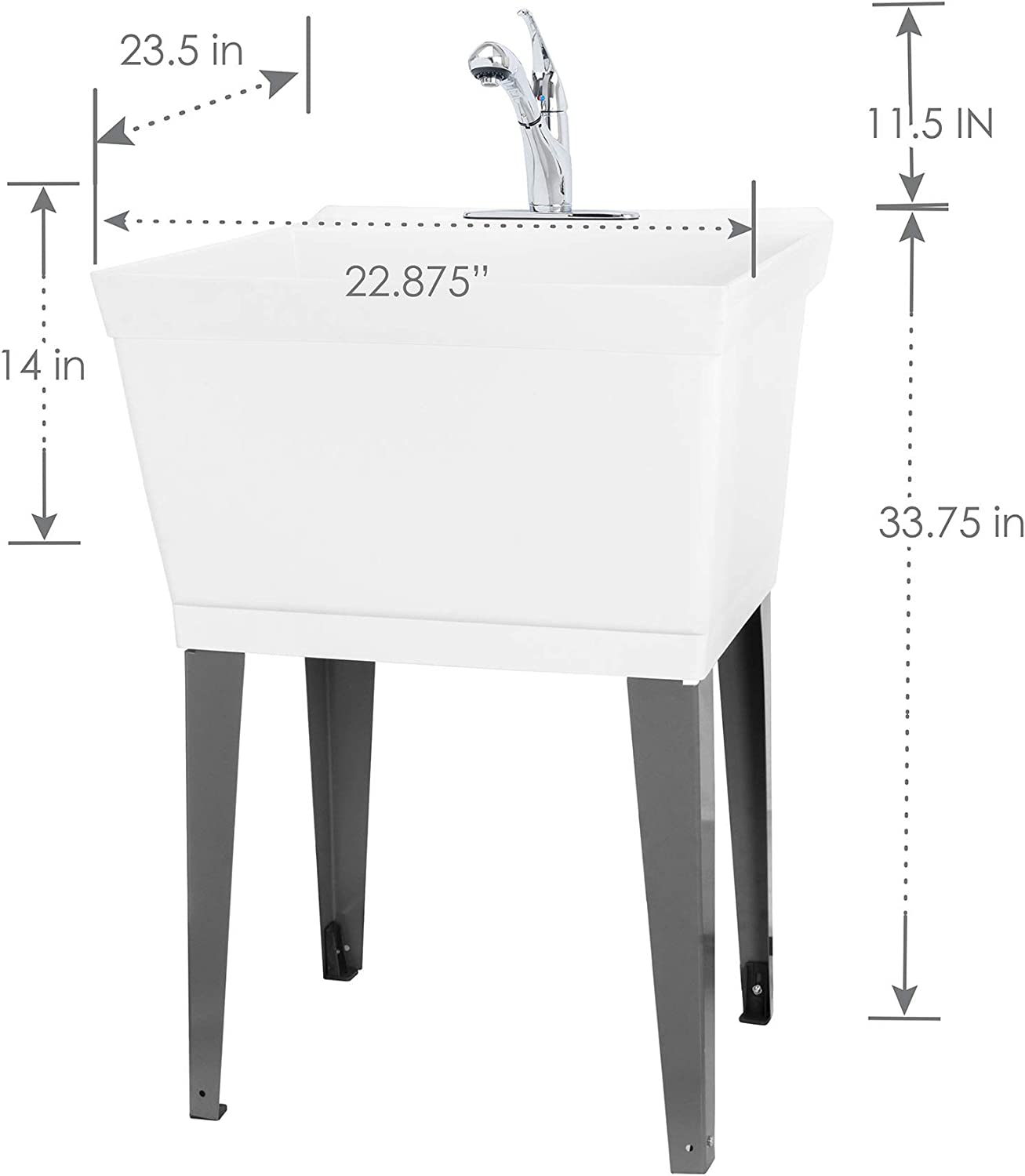 Workshop Chrome Faucet Garage Heavy Duty Free Standing Slop Sinks for Basement Utility Sink Laundry Tub with Pull Out Spout by Vetta