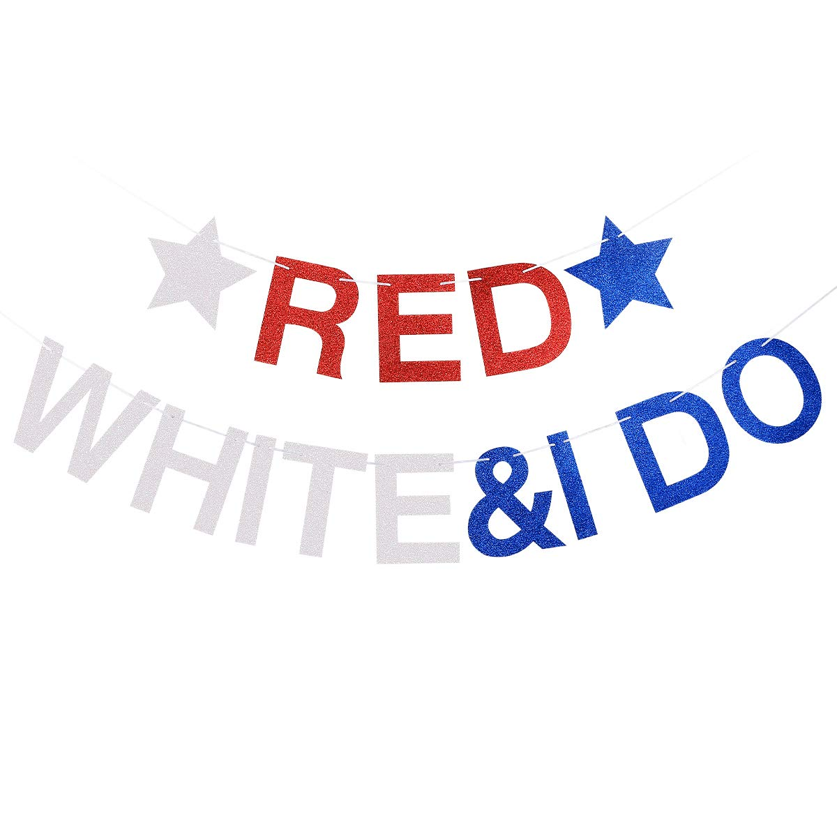 Glittery Red White & I Do Banner- 4th of July Bachelorette Party Decorations,4th of July Wedding Party Decor
