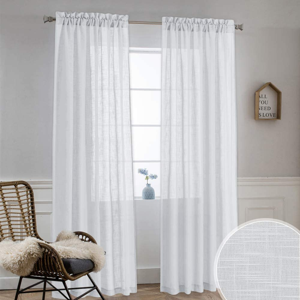 """NICETOWN Semitransparent Linen Sheer Curtains - Dual Rod Pocket Translucent Semi Voile Drapes for Living Room/Hall Room, Grey, 52""""x84"""", Set of 2"""