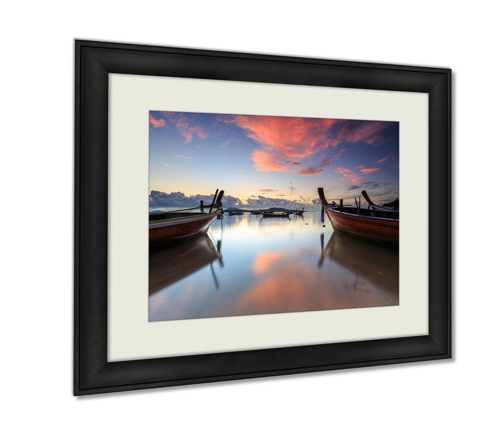 Ashley Framed Prints Traditional Thai Longtail Boat At Sunrise Beach In Phuket Wall Art Decor Giclee Photo Print In Black Wood Frame, Soft White Matte, Ready to hang 16x20 art by Ashley Framed Prints