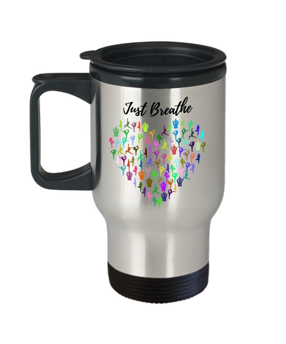 Happyカップ、Just Breathe旅行マグステンレススチール、完璧ヨガMugまたはインスピレーションギフト – コーヒー、紅茶、Cold Drinks   B076GV3ZWC