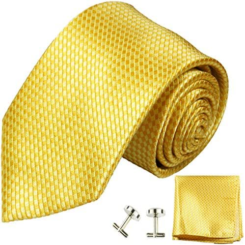 Paul Malone Necktie, Pocket Square and Cufflinks 100% Silk Yellow