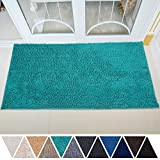DEARTOWN Non-Slip Thick Microfiber Bathroom Rugs, Machine-Washable Bath Mats with Water Absorbent (31x59 Inches, Turquoise)