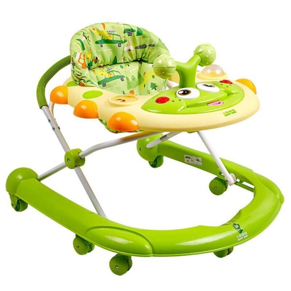 赤ちゃんの歩行, 多目的プッシュ グッズ ウォーカー折り畳む式ロール オーバー保護赤ちゃん活動ウォーカー散歩-a-試合-緑  緑 B07CZ14NB5