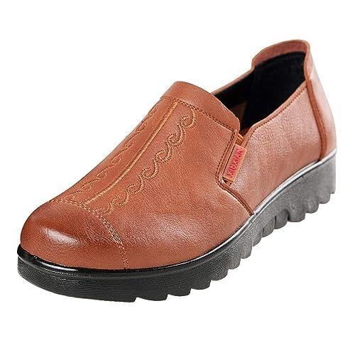 Zapatos con Tira De Velcro con Ancho Especial Madre con Fondo Plano Zapatos éTnicos Bordados Estilo éTnico De Mediana Edad: Amazon.es: Zapatos y ...