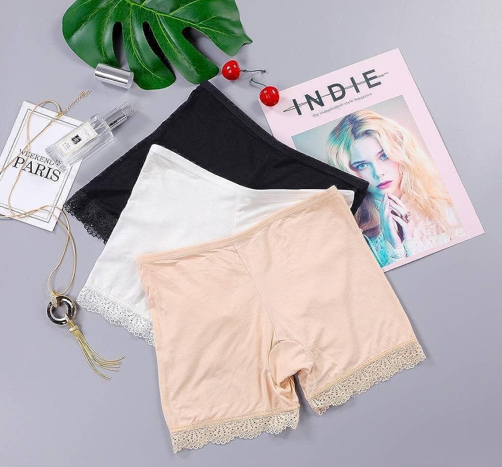 COMVIP Summer Seamless Elastic Waist Lace Hem Safety Pants for Women
