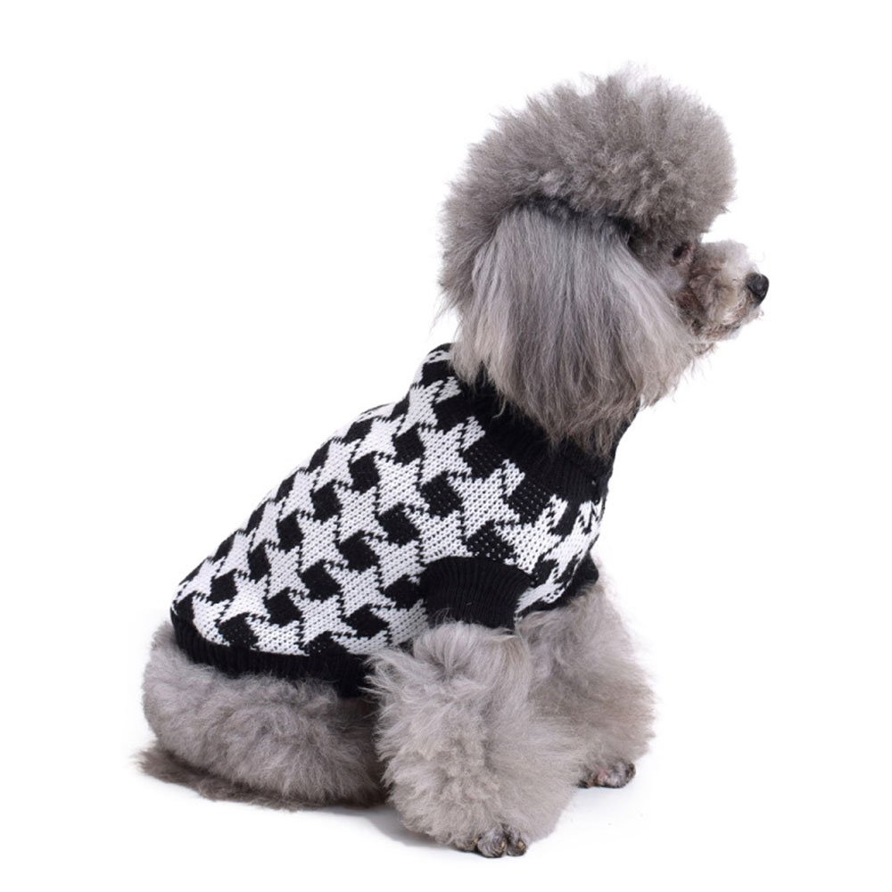 Knitted dog sweater black white dog clothes turtleneck dog vest apparel for  small dogs hongyh pet 3778cf0f7