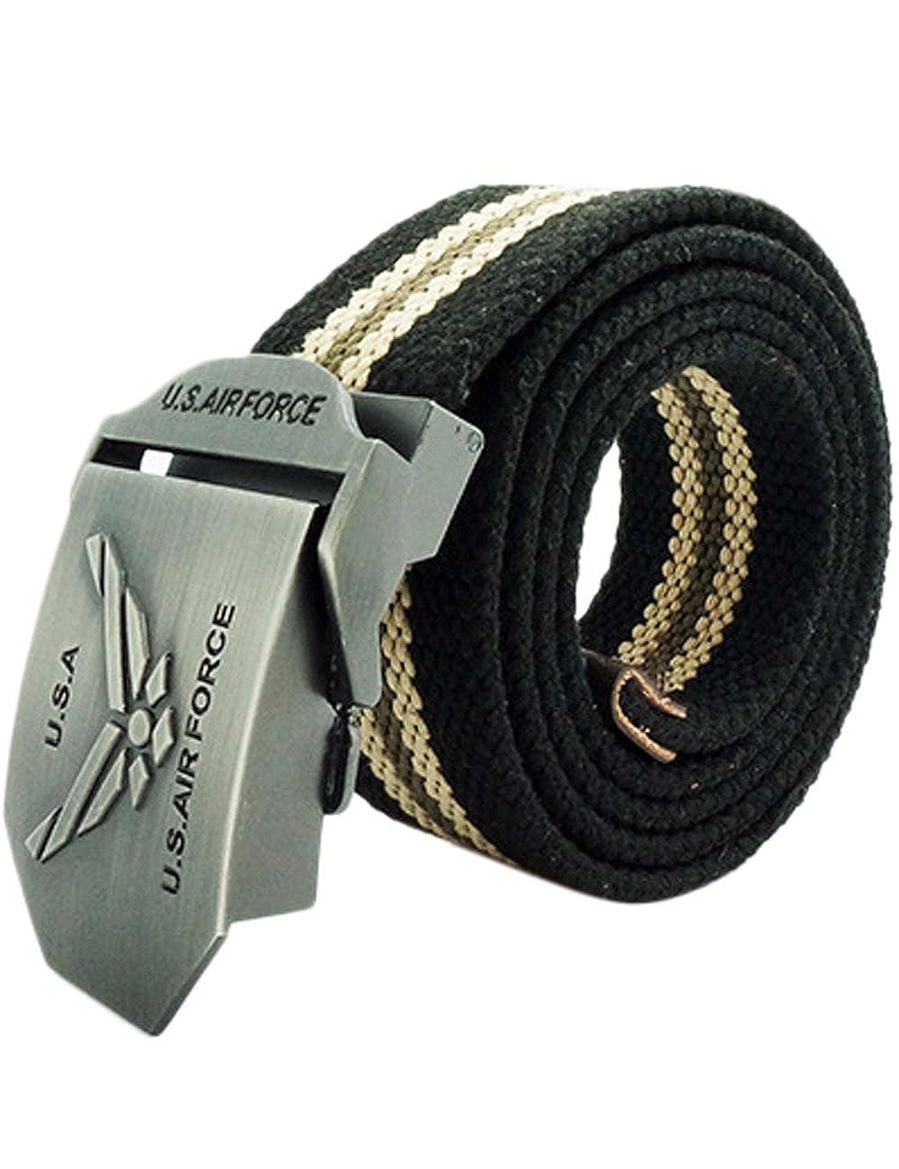 CUKKE Uomo Tela Belt Cintura Fibbia Automatica Pericolo Teschio Militare Metallica in acciaio inox Regolabile 120cm Adustable CN-FBPD-YWHX-203-WHT