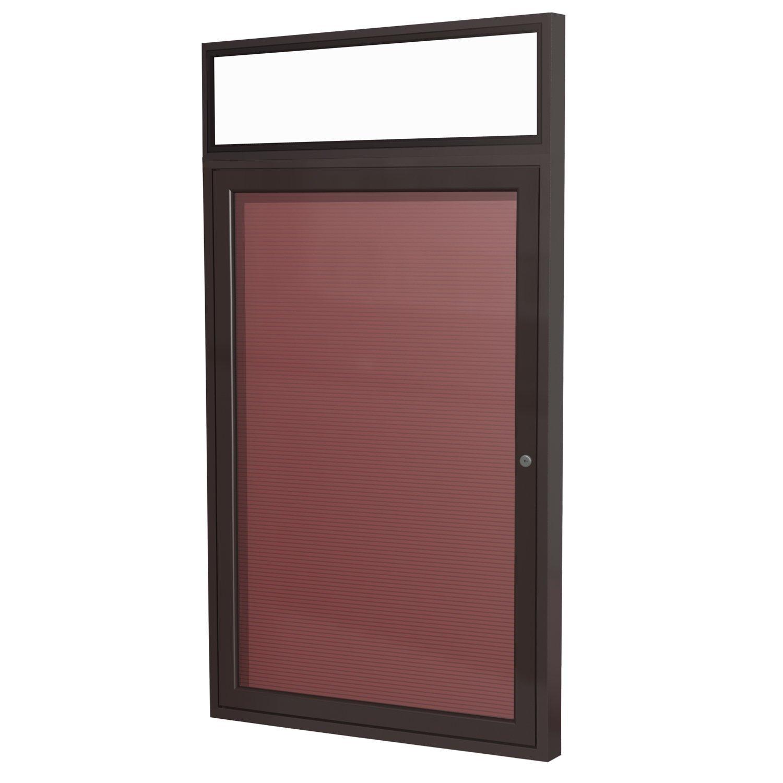 Ghent 36'' x 30'' 1 Door Outdoor Enclosed Vinyl Letter Board, Burgundy, Bronze Aluminum Frame with Headliner (PBBX3-BG) by Ghent