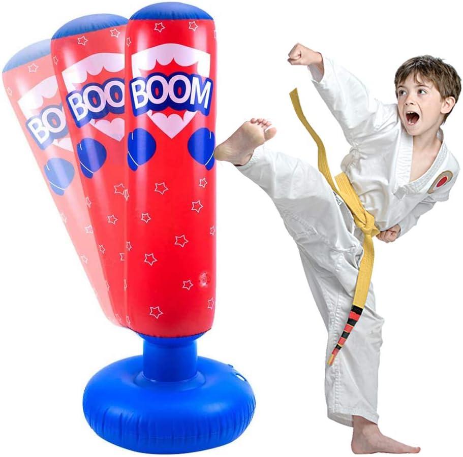 JanTeelGO Saco de Boxeo Inflable para niños de 120 cm, Saco de Boxeo Independiente Que se recupera para Practicar Kickboxing, kárate, Taekwondo para aliviar la energía acumulada