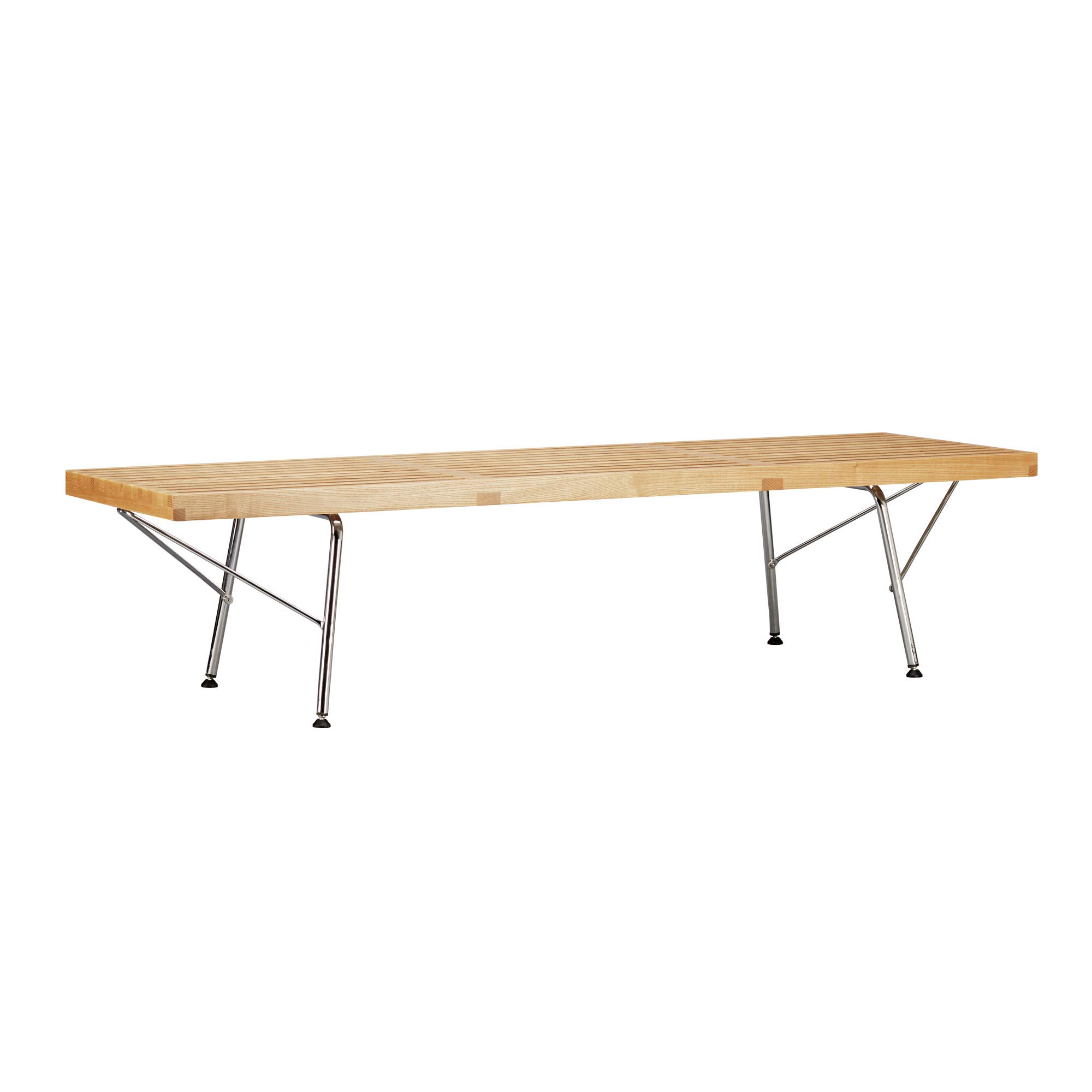 Poly and Bark EM-380-CRM-NAT Slat 5' Bench with Chrome Legs, Natural